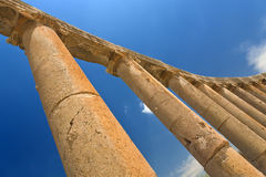 Colonnade of the Forum in Jerash Stock Image
