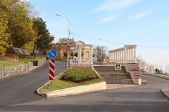 Colonnade and the fountain on Gagarin Boulevard in Pyatigorsk, Russia. Autumn. Scenic view to the colonnade and the fountain on Gagarin Boulevard in Pyatigorsk Royalty Free Stock Images