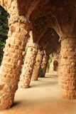Colonnade in Gaudi's Parc Guell Stock Photo