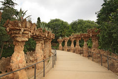 Colonnade in Gaudi's Parc Guell Royalty Free Stock Images