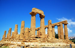 Colonnade of Hera (Juno) temple in Agrigento. Royalty Free Stock Photography