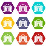 Colonnade icon set color hexahedron. Colonnade icon set many color hexahedron isolated on white vector illustration Stock Photo