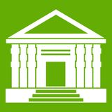 Colonnade icon green. Colonnade icon white isolated on green background. Vector illustration Royalty Free Stock Image