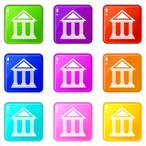 Colonnade icons 9 set Stock Images