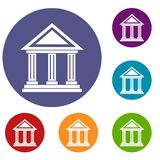 Colonnade icons set Royalty Free Stock Photography