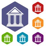 Colonnade icons set. Rhombus in different colors isolated on white background Stock Image