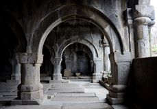 Colonnade inside medieval christian church of Sanahin Monastery Stock Photos