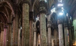 Colonnade inside Milan Cathedral , Italy stock image