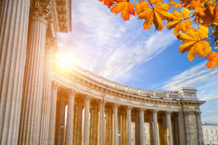 Colonnade of Kazan Cathedral framed by autumn leaves in St Petersburg, Russia. Architecture landscape Royalty Free Stock Images