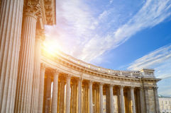 Colonnade of the Kazan Cathedral in Saint Petersburg, Russia. Architectural landscape Royalty Free Stock Photography