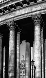 Colonnade of the Kazan Cathedral and Singer house between columns Stock Images