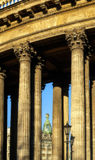 Colonnade of the Kazan Cathedral and Singer house between columns Royalty Free Stock Photo