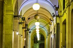 Colonnade and lamps Stock Images