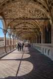 Colonnade of a medieval town hall building (Palazzo della Ragione) Stock Images
