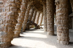 Colonnade at Park Guell. Barcelona, Spain, April 2010, Colonnade at Park Guell. Park Guell is the urban park design from the famous architect Antonio Gaudi Stock Photography