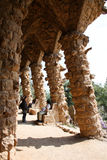 Colonnade at Park Guell. Barcelona, Spain, April 2010, Colonnade at Park Guell. Park Guell is the urban park design from the famous architect Antonio Gaudi Stock Photos