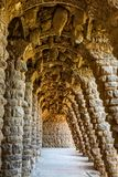 Colonnade at Park Guell in Barcelona Royalty Free Stock Image