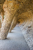 Colonnade of park guell in Barcelona. Spain Royalty Free Stock Images