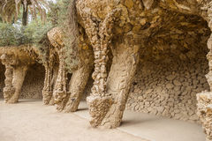Colonnade of park Guell in Barcelona Stock Photography