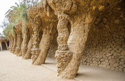Colonnade of park Guell in Barcelona Royalty Free Stock Photos