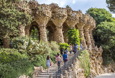Colonnade of park Guell in Barcelona Royalty Free Stock Images