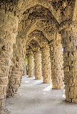 Colonnade of park Guell in Barcelona Stock Image