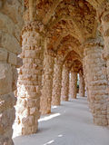 Colonnade of park Guell in Barcelona Stock Photos