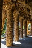 Colonnade at Park Guell in Barcelona Stock Images