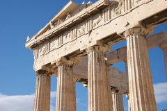 Colonnade and pediment of Parthenon showing sculptures Stock Image