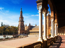 Colonnade of Plaza de Espana. Seville Royalty Free Stock Photo