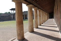 Colonnade Pompeano. Architecture of ancient building dating back to the ancient Romans found in the archaeological excavations of Pompeii site of so much tourism stock images