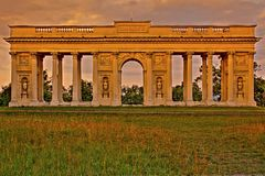 Colonnade Reistna. Is situated about 2 km southwest of Valtice. Currently it serves for the public as a lookout. You can get there following the red tourist Stock Photo