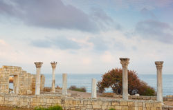 Colonnade in ruins of the Ancient Greek city Royalty Free Stock Images