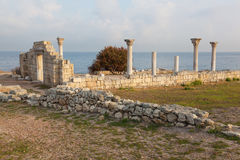 Colonnade in ruins of the Ancient Greek city of Chersonese Stock Photos