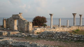 Colonnade in ruins of Ancient Greek city Chersonese in morning stock video