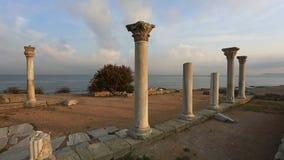 Colonnade in ruins of  Ancient Greek city of Chersonese, Sevastopol stock video footage