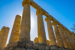 Colonnade of ruins Ancient greek Temple of Juno, old architecture Agrigento, Sicily. Italy stock images