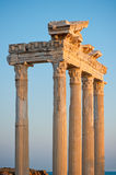 Colonnade of the ruins of the Temple of Apollo in Side. Stock Photos