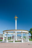 Colonnade with sculpture of an angel. In the center of the Volzhsk town Stock Photos
