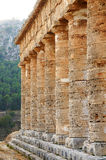 The colonnade of the Segesta temple in Sicily Royalty Free Stock Photography
