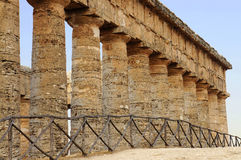 The colonnade of the Segesta temple in Sicily Stock Photo