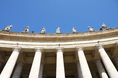 The Colonnade of St. Peter's Basilica in Vatican Royalty Free Stock Photo