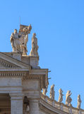 Colonnade at St. Peter`s Square in Rome, vertical shot Stock Photography
