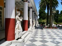 Colonnade of Statues, Achilleion Palace, Corfu Royalty Free Stock Photography