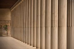 Colonnade and steps inside Stoa of Attalos Stock Photo