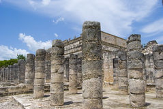 Colonnade stones. At Temple of 1000 warriors. Chichen Itza temple complex in Cancun, Mexico stock photography
