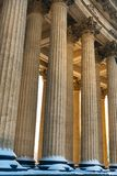 Colonnade with sunset light of Kazan Cathedral in Saint Petersburg, Russia stock photography