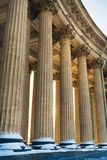 Colonnade with sunset light of Kazan Cathedral in Saint Petersburg, Russia stock photo