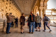Colonnade with tourists Stock Image