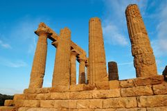 Colonnade van de tempel Hera (van Juno) in Agrigento, Sic Stock Afbeeldingen